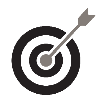 An arrow in a target.